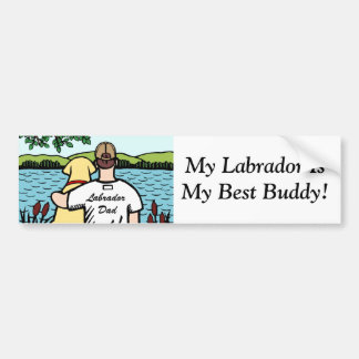 Yellow Labrador and Dad Lake View 2 Bumper Stickers