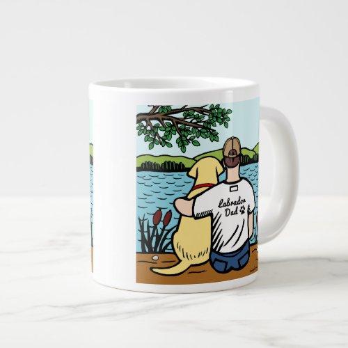 Yellow Labrador and Dad Lake View 20 Oz Large Ceramic Coffee Mug