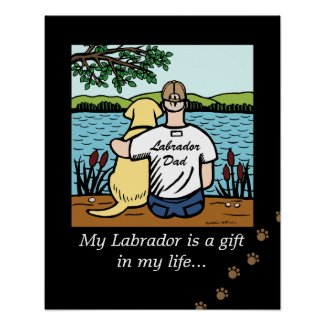 Yellow Labrador and Dad Poster
