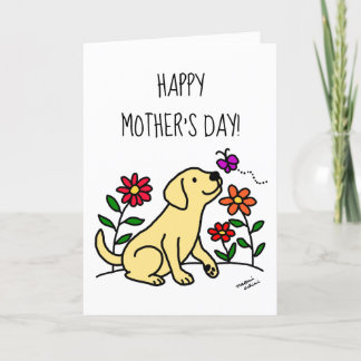 Yellow Labrador and Green Mother's Day Card