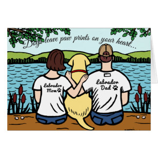 Yellow Labrador and Mom and Dad Card