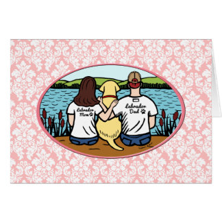 Yellow Labrador and Mom and Dad Long Card