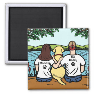 Yellow Labrador and Mom and Dad Long 2 Inch Square Magnet