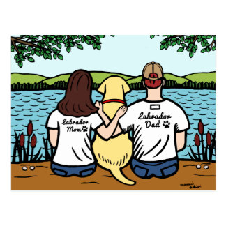 Yellow Labrador and Mom and Dad Long Postcard