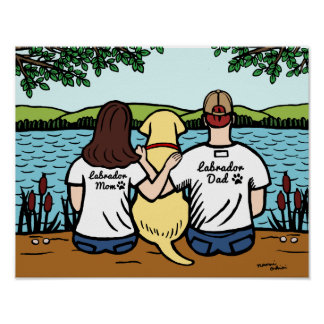Yellow Labrador and Mom and Dad Long Poster