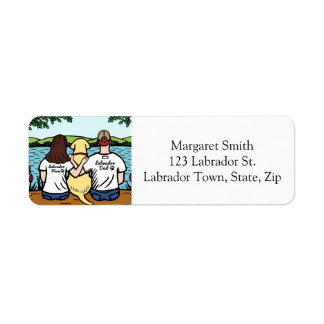 Yellow Labrador and Mom and Dad Long Return Address Label