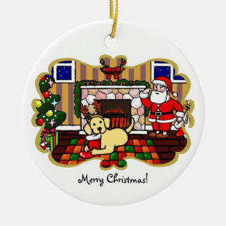 Yellow Labrador and Santa Christmas Cartoon Ceramic Ornament