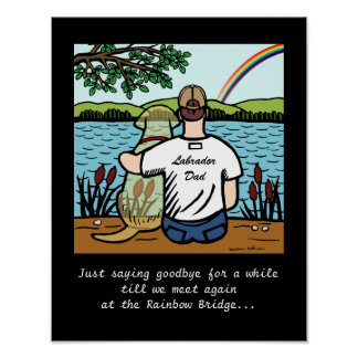 Yellow Labrador Angel and Dad 1 Poster