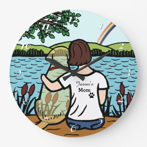 Yellow Labrador Angel and Mom Clock