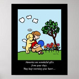Yellow Labrador Angel with Love Cartoon 2 Poster