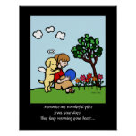 Yellow Labrador Angel with Love Cartoon 2 Posters