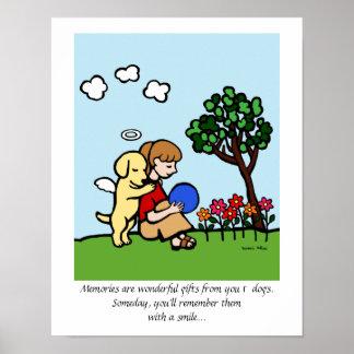 Yellow Labrador Angel with Love Cartoon Poster