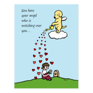 Yellow Labrador Angel with Love Post Cards