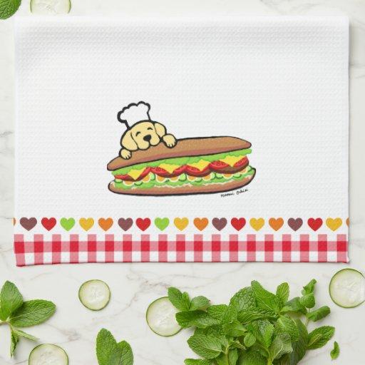 Yellow Labrador Bakery Cartoon Towel
