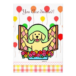 Yellow Labrador Birthday Invite (window) Invitation
