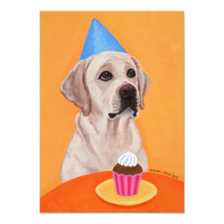 Yellow Labrador Birthday Party Invitations Personalized Announcements