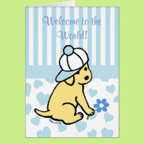 Yellow Labrador Blue New Baby Boy Congratulations Card