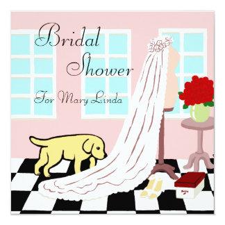 Yellow Labrador Bridal Shower 5.25x5.25 Square Paper Invitation Card