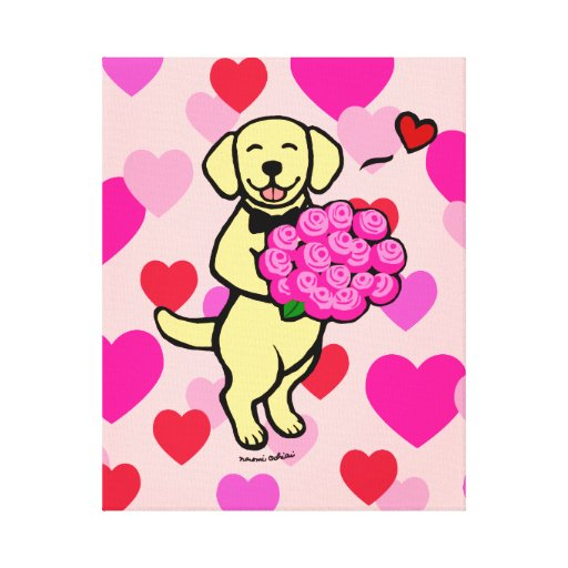 Yellow Labrador Cartoon Heart Canvas Print