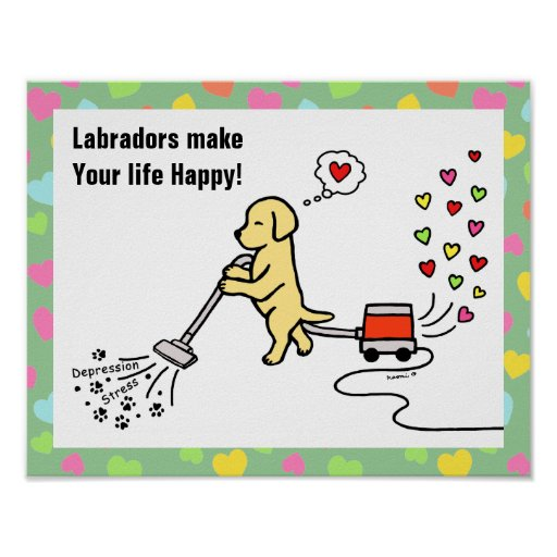 Yellow Labrador Cartoon Poster