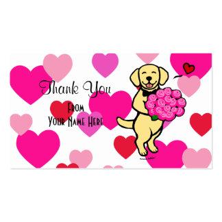 Yellow Labrador Cartoon RosesThank You Double-Sided Standard Business Cards (Pack Of 100)