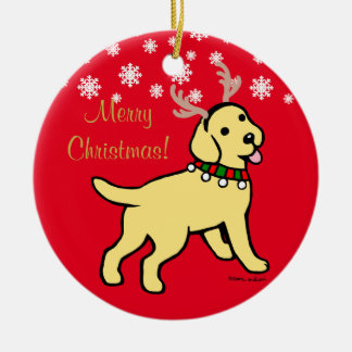 Yellow Labrador Christmas Antlers Double-Sided Ceramic Round Christmas Ornament