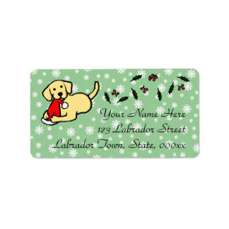 Yellow Labrador Christmas Cartoon Label