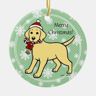 Yellow Labrador Christmas Santa Hat Double-Sided Ceramic Round Christmas Ornament