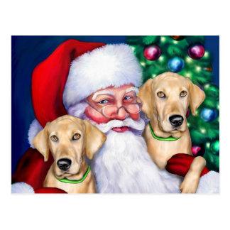 Yellow Labrador Christmas Santa's Labs Postcard