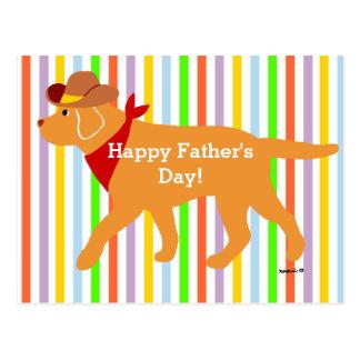 Yellow Labrador Cowboy Cartoon Postcard