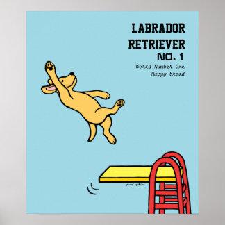 Yellow Labrador Diving Cartoon Poster
