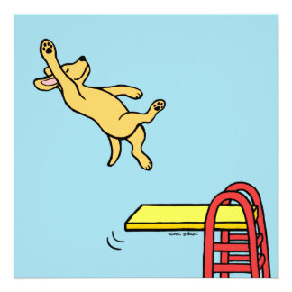 Yellow Labrador Diving Party Invitations