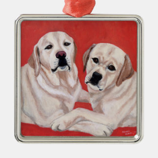Yellow Labrador Duo Painting Metal Ornament