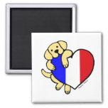Yellow Labrador & French Heart Cartoon Magnet