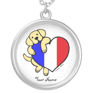 Yellow Labrador & French Heart Cartoon Round Pendant Necklace