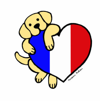 Yellow Labrador & French Heart Cartoon Statuette