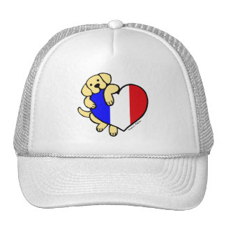 Yellow Labrador & French Heart Cartoon Trucker Hat