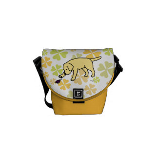Yellow Labrador Friendly with Clovers Messenger Bag