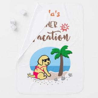 Yellow Labrador Girl Summer Vacation Blanket