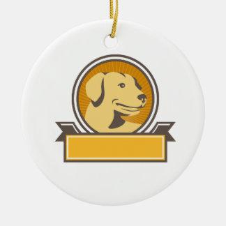 Yellow Labrador Golden Retriever Head Circle Retro Ceramic Ornament
