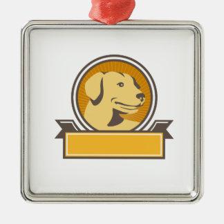 Yellow Labrador Golden Retriever Head Circle Retro Metal Ornament