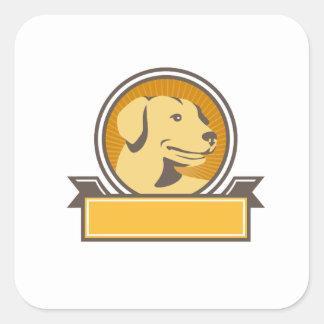 Yellow Labrador Golden Retriever Head Circle Retro Square Sticker