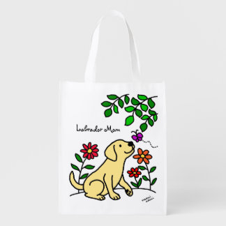 Yellow Labrador & Green Grocery Bag