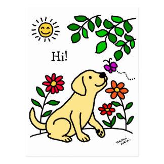 Yellow Labrador & Green Postcard