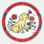 Yellow  Labrador & Green with Heart Round Sticker