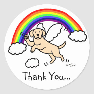 Yellow Labrador Guardian Angel (Rainbow Bridge) Classic Round Sticker