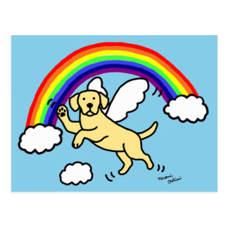 Yellow Labrador Guardian Angel (Rainbow Bridge) Post Card