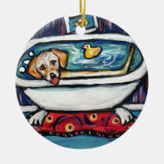 Yellow Labrador happy bathtime Ceramic Ornament