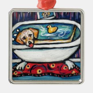 Yellow Labrador happy bathtime Metal Ornament