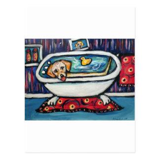 Yellow Labrador happy bathtime Postcard